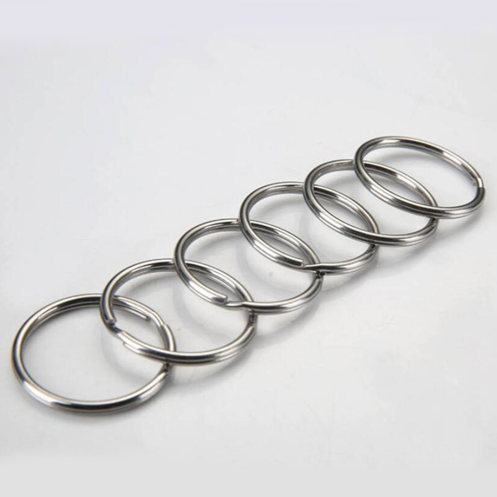 10pcs/lot 12mm 15mm 20mm 25mm 28mm Stainless Steel Hole Key Ring Key Chain Rhodium Plated Round Split Keychain