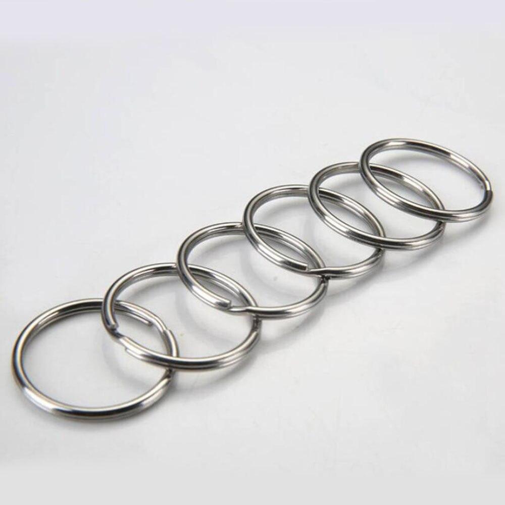 10 шт./лот, 12 мм, 15 мм, 20 мм, 25 мм, 28 мм, кольцо для ключей из нержавеющей стали с родиевым покрытием, Круглый раздельный брелок