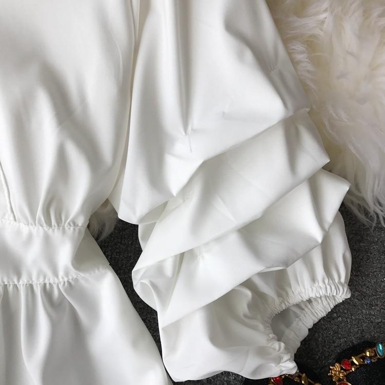 2109 Spring Women V-neck Puff Sleeves Blouse Slim Tunic Tops Retro Vintage Pullovers Busos Para Mujer Kimonos 92