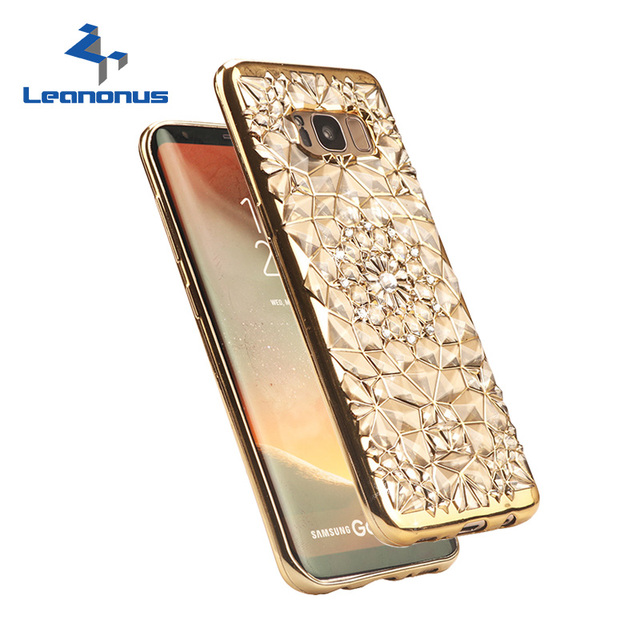 Gold Plating Case 3d Relief Rugged Flower Glitter Diamonds