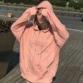 Otoño Invierno Nuevas Mujeres de Gran Tamaño Floja Camisa Con Capucha y El Algodón Abrigo Sweatershirt Mujeres de Manga Larga Sudaderas Casual