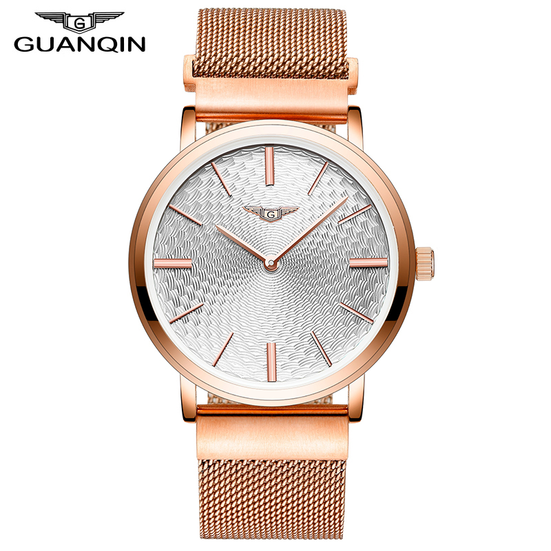 ФОТО 2017 Men's Watches New Thin Dial Luxury Top Brand GUANQIN Waterproof Stainless Steel gold case Clock Male Quartz Wrist Watches