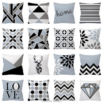 Black and Grey Geometric Cushions