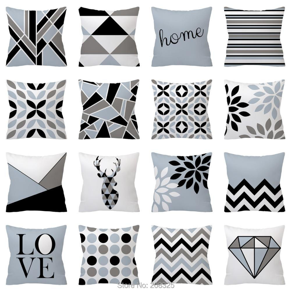 ZENGIA Nordic Cushion cover Polyester Gray Geometric pillow cover Sofa decorative Cushions 45*45 Home Decor Decorative Pillows