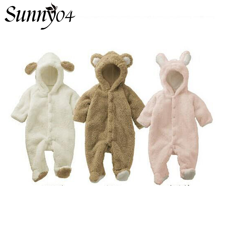 Autumn Winter 2018 Baby Clothes Long Sleeve Warm Romper Plush Animal Style Newborn Kids Boys Girl Clothing Cute Infant Jumpsuits mother nest 3sets lot wholesale autumn toddle girl long sleeve baby clothing one piece boys baby pajamas infant clothes rompers