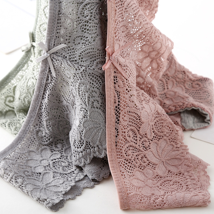 3pcs/lot, Sexy Lace Panties, Women's Fashion Cozy Lingerie, Tempting Pretty Briefs, Cotton Low Waist, Cute Women Underwear 25