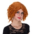 orange curly hair short synthetic lace front wig heat resistant cosplay anime