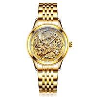 kobiet zegarka Luxury Dragon & phoenix men watch women hollow luminous engraving automatic mechanical watches gold clock Relogio