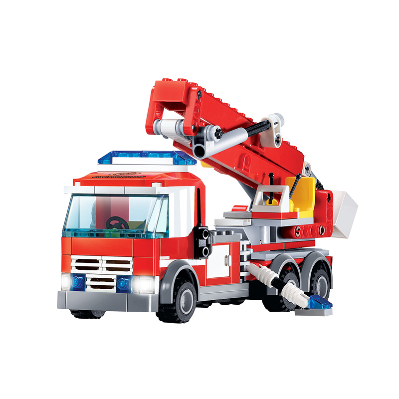 8053 City Series Ladder Fire Fighting Truck Fire Station Building Blocks Educational Toys For Children Christmas Gift Legoings banbao 8313 290pcs fire fighting ladder truck building block sets educational diy bricks toys christmas kids gift