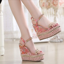 Size 34-39 New Arrival 2016 Summer Shoes Elegant Flower Platform Transparent Lady Wedge Shoes High Heel Sandals LADY SHOES B036