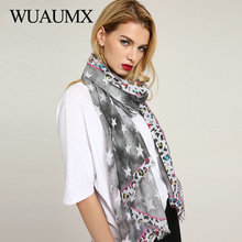 Wuaumx 2018 New Ladies Scarves Shawl And Wraps Scarf For Women Leopard Five Star Pattern Thin Multifunction Hijab Foulard