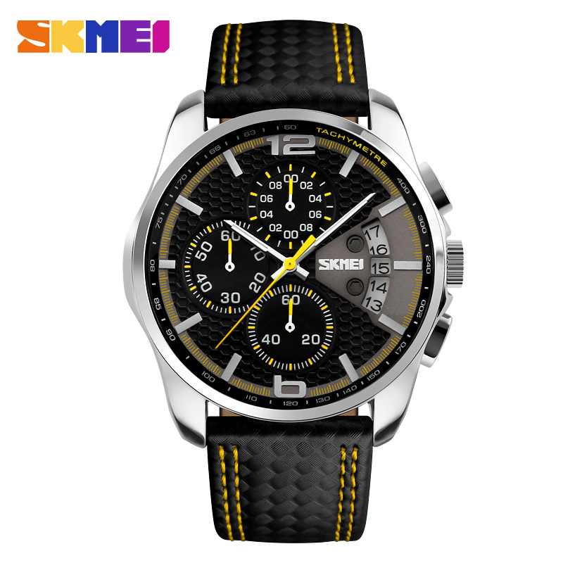 New Brand Fashion Men Sports Watches Men's Quartz Hour Date Clock Man Leather Strap Military Waterproof Stopwatch Wristwatch high quality luxury brand men sports waterproof watches quartz hour clock men leather strap montre homme with auto date
