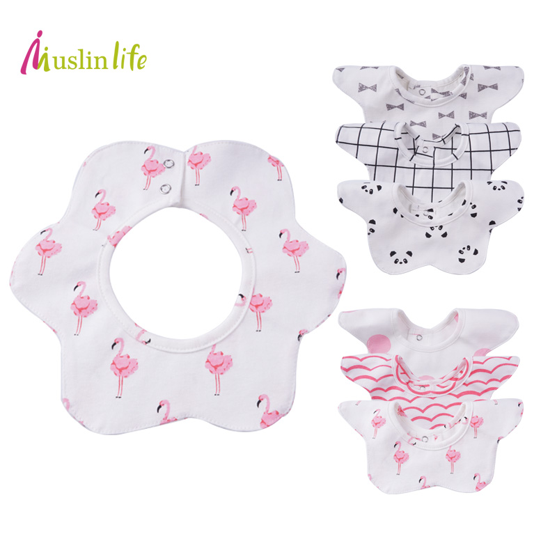 Muslinlife Lovely Flower Style Baby Bibs, Fashion Pattern Dot Cactus Flamingo Bibs Girls Boys, for 0 to 2T(3pcs/lot) стоимость
