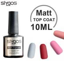 SLYGOS 10ML Matt Top Coat Soak Off UV LED Nail Gel Polish Topcoat Nail Art Manicure Matte TOP COAT Frosted Professional Gel недорого