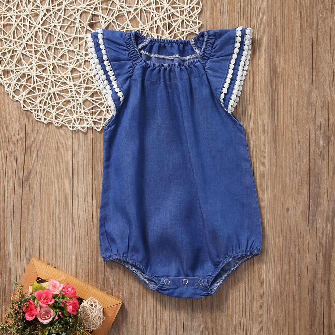 204c5d9a ... Cute Newborn Baby Girl Lace Romper Clothes Infant Bebes Lace Jumpsuit  Denim Rompers Jumpsuit Sunsuit Outfits ...