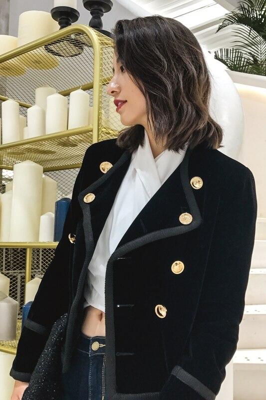 De Tempérament Velours 2018 Mode Automne Noir Coréenne Hiver Veston Nouveau Femmes Court Féminine La dCeQorBWx