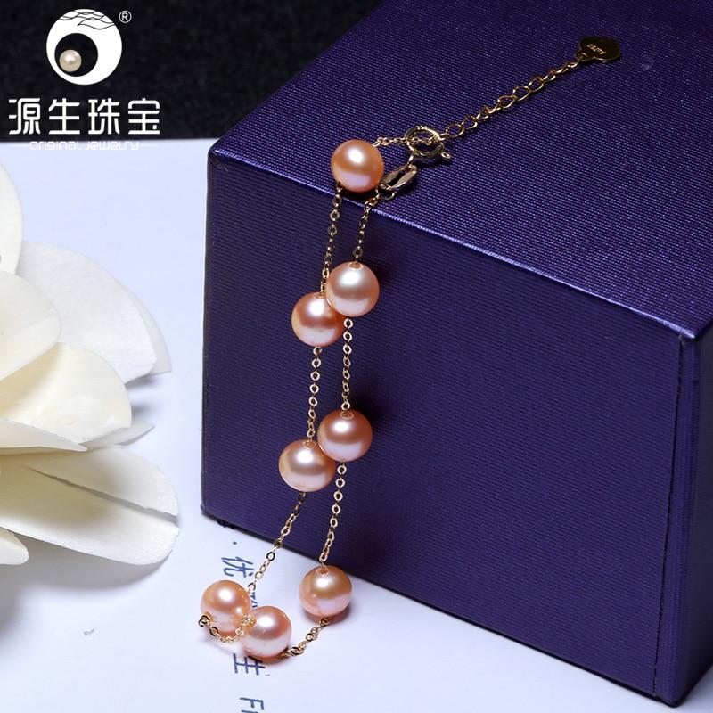 [YS] 18K Gold Bracelet 5-6mm Pink Pearl Chinese Freshwater Pearl Bracelet Fine Jewelry For Women 1000pcs 0402 18k 18k ohm 5