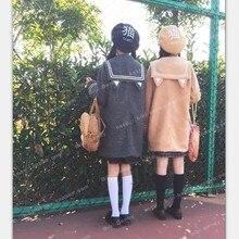 Японские милые девушки JK роговыми пуговицами Полушерстяное пальто кошачьи уши матросский воротник верхняя одежда зима толстый теплый серый и хаки