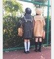 Японские милые девушки JK рог кнопку полушерстяные пальто кошачьи уши сейлор воротник верхней одежды зима толстые теплые серый и хаки