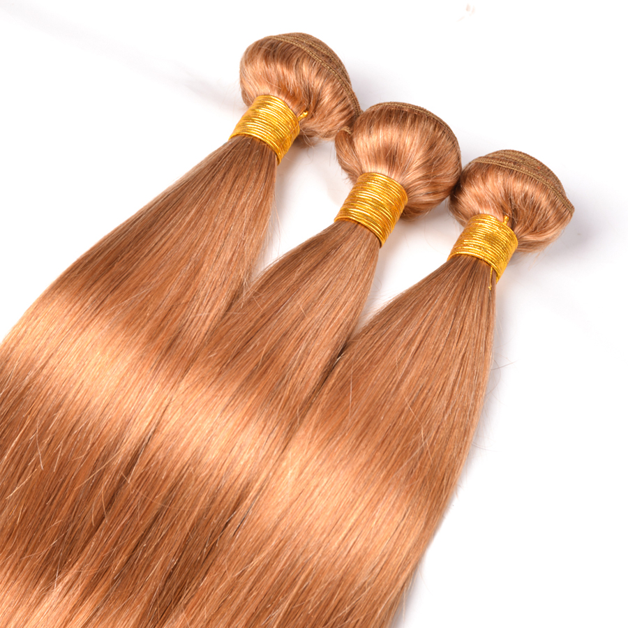 Beyo Honey Blonde #27 Brazilian Hair Weave Bundles 3 Bundles Straight Hair Human Hair Extensions Non Remy Hair No Shedding