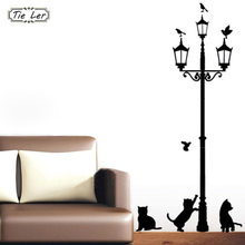 Home Decoratie 4 Kleine Kat Onder Street Lamp DIY Muur Sticker Behang Art Decor Muurschildering Kamer Decal Adesivo De Parede stickers(China)