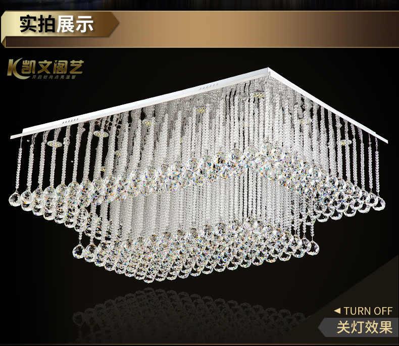 Прямоугольная лампа для гостиной крустальная Светодиодная лампа потолочная лампа для спальни лампа для ресторана простые двойные хрустальные лампы для гостиной