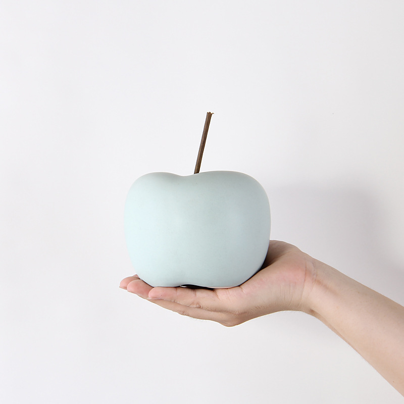 Nordic Creative Ceramics Apple Decoration Simple Living room TV cabinet Home Soft dress Accessories Fruit Adornment Crafts Gift in Figurines Miniatures from Home Garden