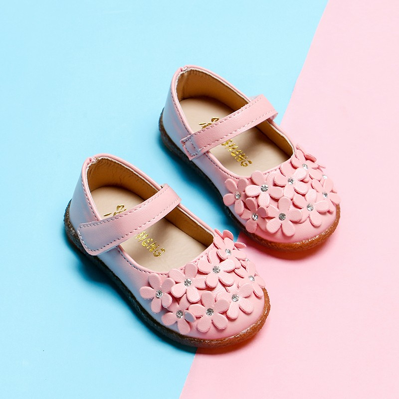2018 New Style Girls Shoes Baby Toddlers Princess Shoes Flowes Single Shoe Bling Flats Children Mary Janes White Red Pink MCH062