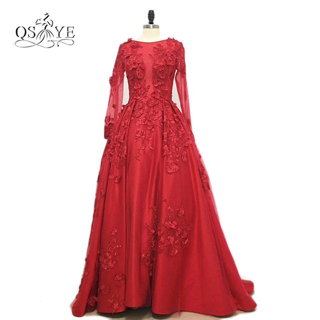 Real Photos 2017 Vestido de Fiesta Red Long Sleeve Evening Dress Long Prom  Dress with 3D Floral Lace Formal Gowns Custom Made 995aa2bff362