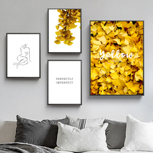 Golden Ginkgo Leaves Line Drew Girl Wall Art Canvas Painting Abstract Nordic Posters And Prints Pictures For Living Room