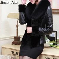 Leather Jacket Women Winter PU Jackets And Coat Thick Wool Collar Windbreak Waterproof Warm Fur Trench