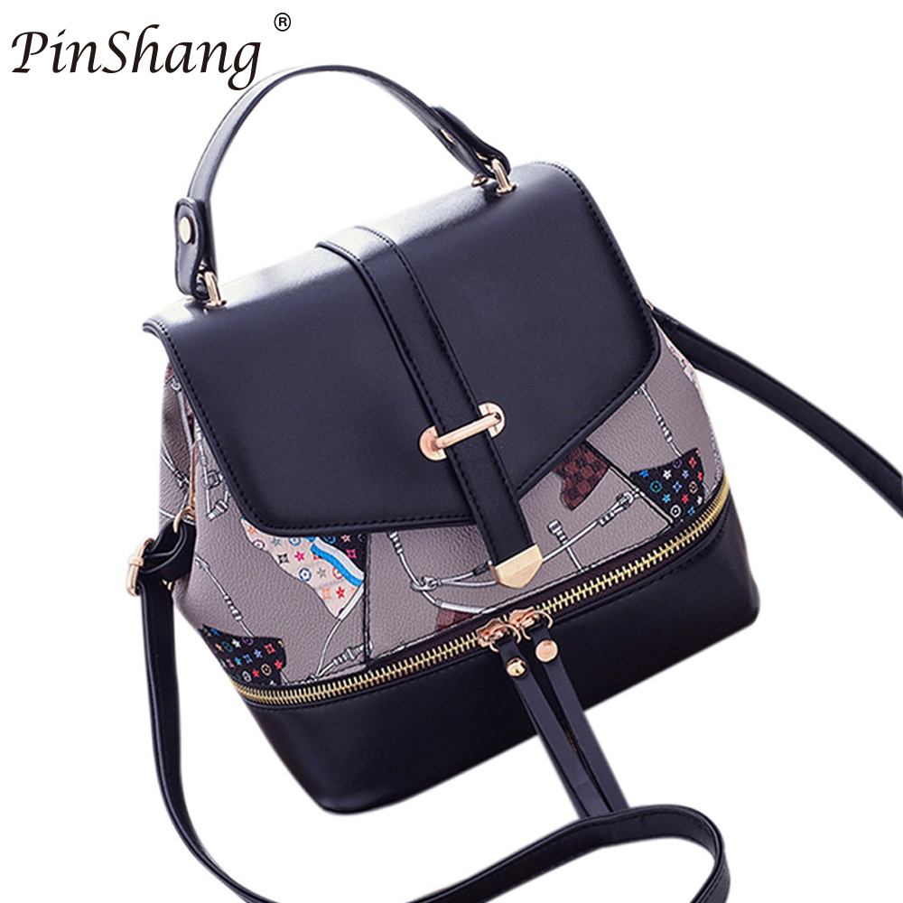 PinShang Women PU Leather Fashionable Single Shoulder Backpack Generous Portable Zippered Satchel Bag For Teenagers Girls ZK15 fashionable pu leather backpack for men
