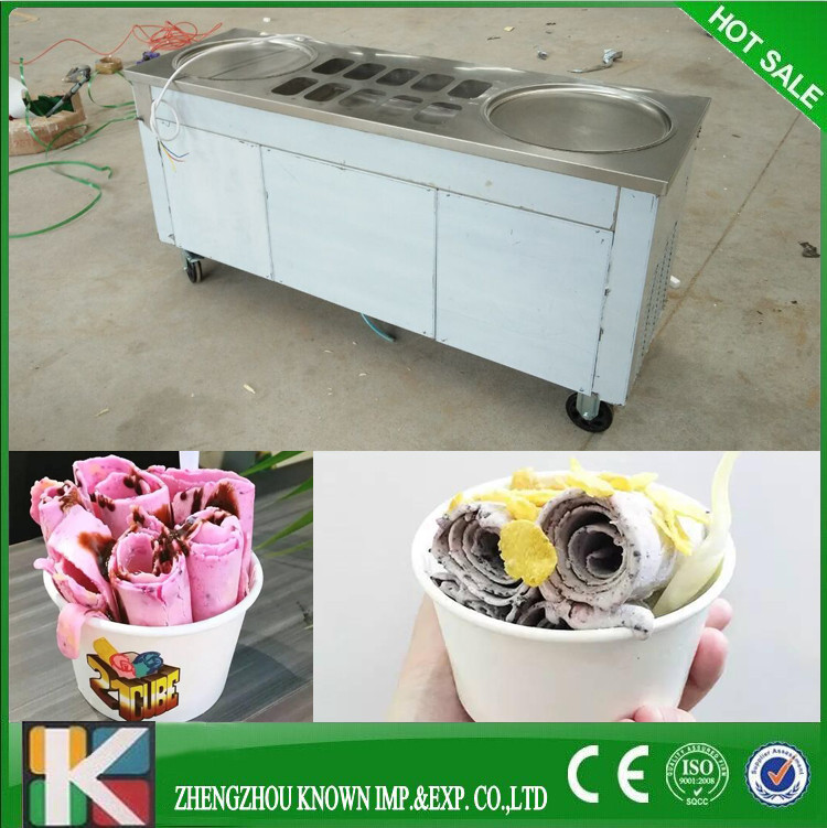 In USA and CA popular model double round pan fry ice cream machine with 110V shipping by sea to Vancouver seaport in CA nafisa farooq and nasir mehmood cicer arietinum and vigna mungo antifungal ca afp gene and assays