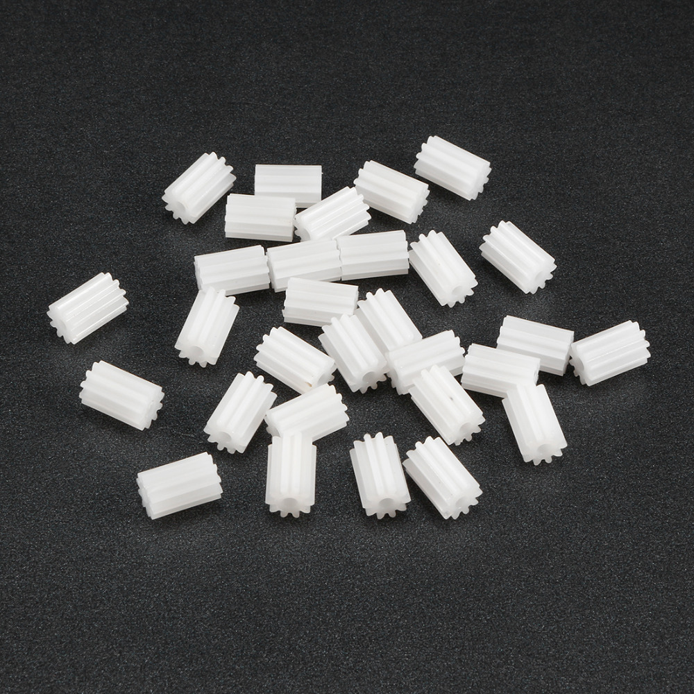 Uxcell 30Pcs/lot 102/122A 10T 12 Teeth 2mm Shaft Plastic Gear 9 X 6mm / 5 X 7mm For DIY Vehicl Robot Motor Toy Accessories
