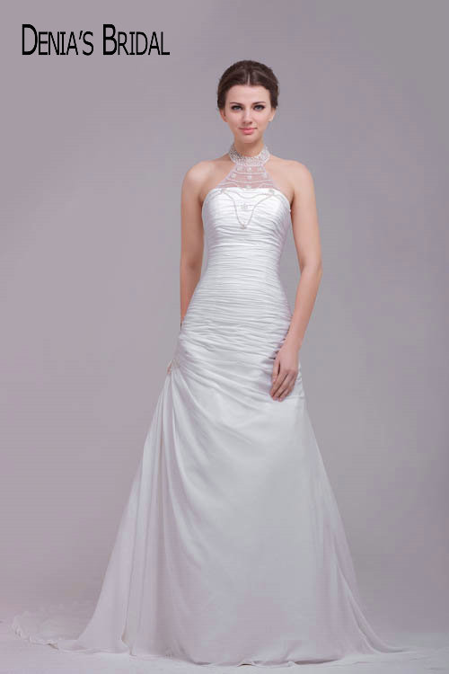 Beaded Halter Neck Wedding Dresses Ruched Court Train Bridal Gowns ...