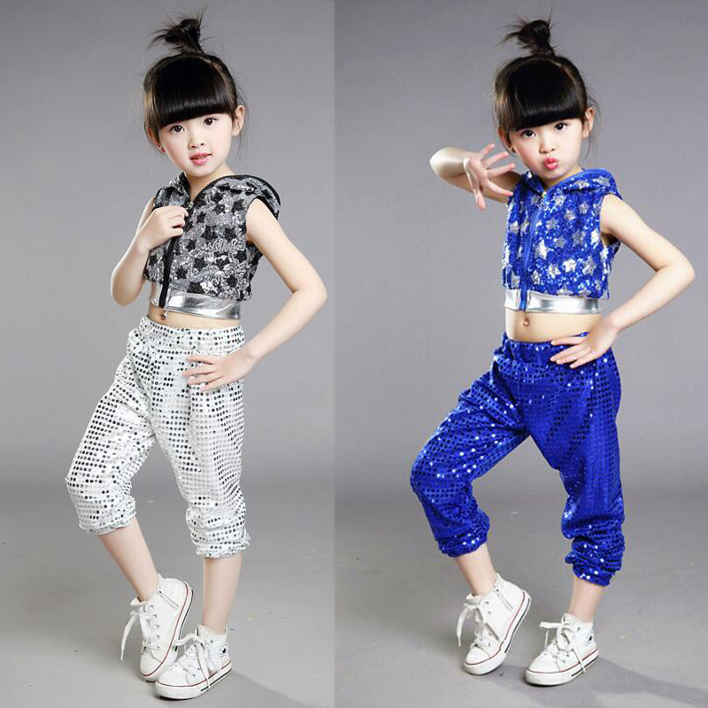 Red Bright Girls Boys Modern Hip Hop Dance Costumes Sequined hoodie Kids Ballroom Jazz Dancing Outfits Top&Pants