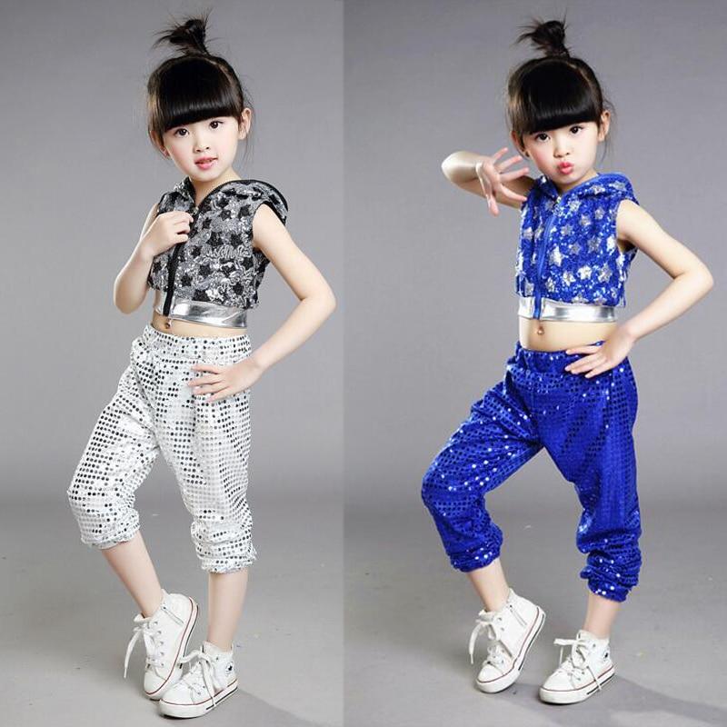 Red Bright Girls Boys Modern Hip Hop Dance Costumes Sequined Hoodie Kids Ballroom Jazz Dancing Outfits Top&Pants