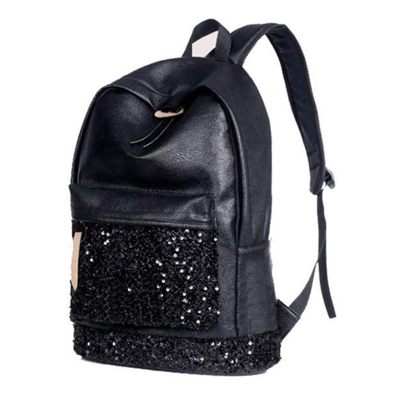 2X Women Backpack Big Crown Embroidered Sequins Backpack Women Leather Backpacks Girls School Bags