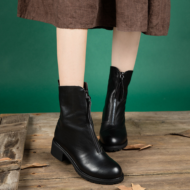Genuine leather female boots front zipper personality Martin boots casual women short boots spring and autumn women black shoes