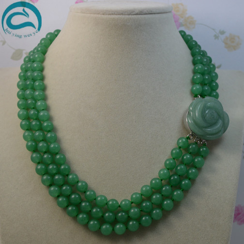 Unique Pearls jewellery Store Classic AA 8mm Green Jades 3Rows Round Jades Jewelry 45cm to 50cm Flower ClaspUnique Pearls jewellery Store Classic AA 8mm Green Jades 3Rows Round Jades Jewelry 45cm to 50cm Flower Clasp