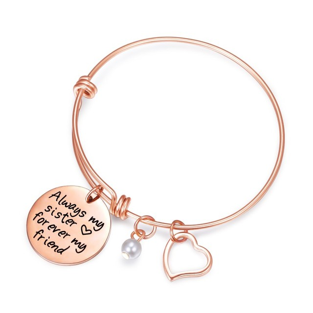 Sister Bracelet Charms Quote Adjule Bangle Stainless Steel Jewelry Always My Forever