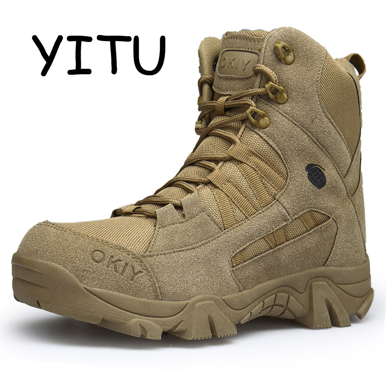 US $38.95 40% OFF|YITU Men's Suede Outdoor Hiking Boots Lace Up Breathable Army Boots Desert Combat Boots Military Trekking Hiking Shoes Sneakers in