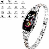 Luxury H8 Women Smart Bracelet Ladies Waterproof Smart Band Heart Reat Pedometer Full Steel Smart Wristband For iPhone Android