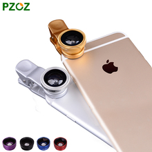 Pzoz camera lenses 3 in 1 Wide Angle Macro Fish Eye lens for apple iphone 5 5s 6 6s plus be employed all mobile phone universal