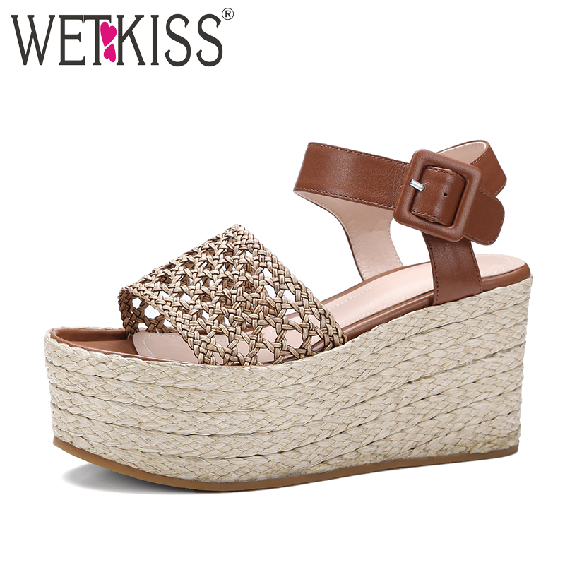 WETKISS New Arrival Straw Weave Platform Sandals Women Shoes Genuine Leather+pu Knit Ankle Strap Summer Leisure Wedges Sandals  wetkiss 2017 genuine leather concise women sandals casual wedges platform summer shoes high ankle strap open toe sandals women