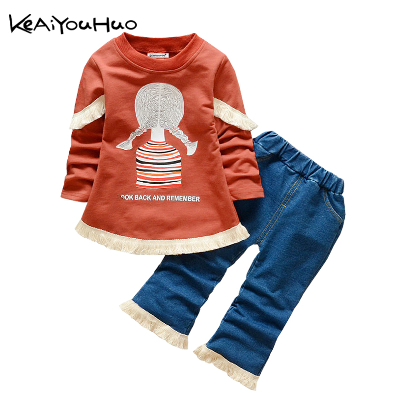 KEAIYOUHUO Autumn Winter Baby Girls Clothes Cute Pattern T-shirt+Jeans Pants Kids Sport Suit For Girls Children Clothing Sets keaiyouhuo 2017 autumn boys girls clothes sets batman sport suit children clothing girls sets costume for kids baby boy clothes