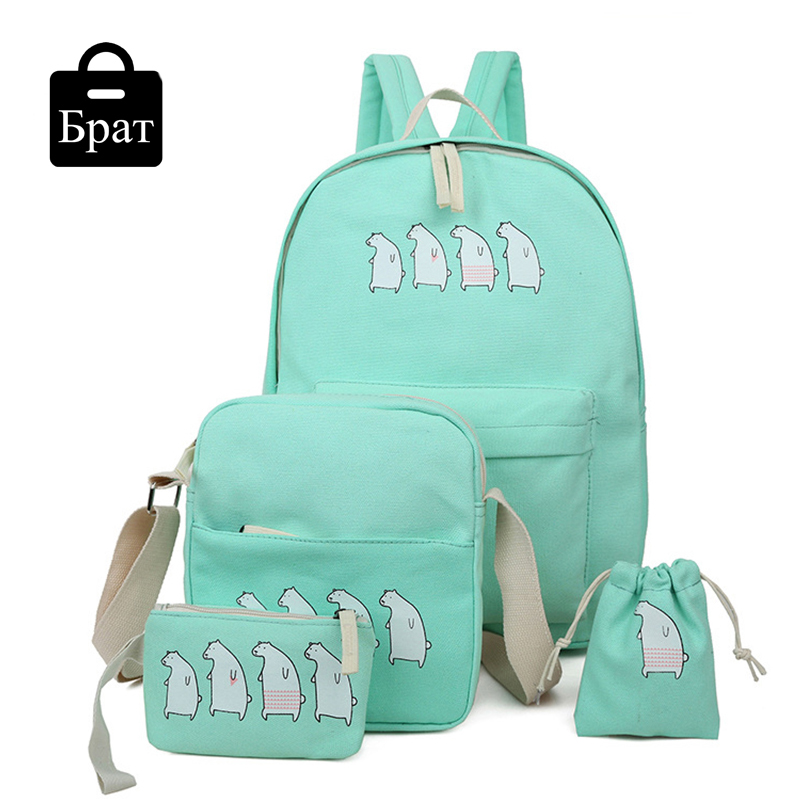 4 pcs/set summer cute women backpack character canvas backpacks ...