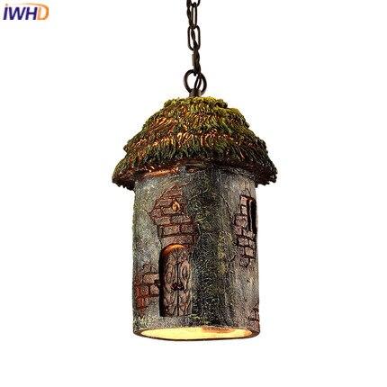 IWHD Nordic Style Loft Vintage Pendant Lights Resin Retro Industrial Lamp  Creative Cabin Pendant Light Fixtures Home Lighting