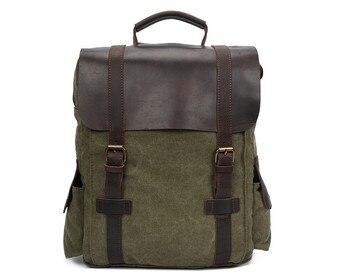 Nesitu High Quality Vintage Blue Army Green Khaki Canvas 14'' Laptop Women Men Backpacks Men's Travel Bag #M1820