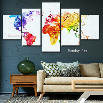 5 Piece hand painted Colorful Abstract World map Painting Wall art Picture for Living Room Modern Canvas painting Wall decor art